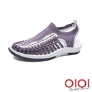 涼鞋 玩潮飛織編織繩情侶鞋(女款-紫)*...