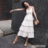 棉麻美背吊帶長裙夏女顯瘦2018新款外穿蛋糕裙夏季韓版露背洋裝