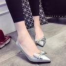 尖頭低跟單鞋淺口舒適中跟蝴蝶結瓢鞋細跟漆皮鞋
