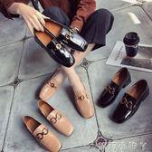 牛津鞋紳士鞋英倫風百搭樂福鞋粗跟低跟女一腳蹬社會女單鞋 全館免運