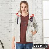 【JEEP】女裝 立體浮雕LOGO連帽刷毛外套 (灰色)