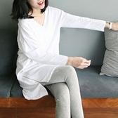 竹節棉長袖T恤 春白色t恤女長袖寬松中長款v領竹節棉打底衫韓版簡約體恤新款上衣 寶貝計畫