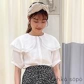 「Summer」層次雙領設計開襟短袖上衣 (提醒 SM2僅單一尺寸) - Sm2