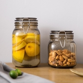 暗金色金屬扣玻璃密封罐套裝食品儲物罐玻璃罐【限時82折】