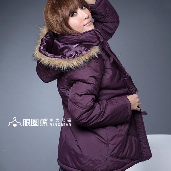 鋪綿外套--風格獨具的百搭單品-霧面毛邊連帽斜紋鋪綿長大衣(黑.紫M-2L)-J71眼圈熊中大尺碼★
