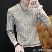 男士t恤長袖韓版潮流圓領打底衫上衣秋季新款豎條紋衛衣薄款  潮流前線