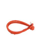 【BOTTEGA VENETA】小羊皮雙圈編織手環 S (夕陽橘色) 113546 V001D 7511