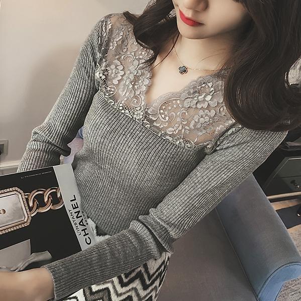 """免運 -ZUCA""""S - V領蕾絲針織衫T恤 - A-884"""
