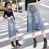 新款大碼胖mm不規則a字中長款包臀裙高腰顯瘦毛邊牛仔半身裙 潮人女鞋