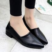 樂福鞋春季社會女鞋新品尖頭淺口單鞋女平底軟妹樂福鞋兩穿豆豆鞋子(限時八八折)