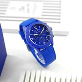 FOSSIL / LE1098 / 限量版 帥氣潮男 三眼計時 陶瓷錶圈 日本機芯 矽膠手錶 寶藍色 46mm