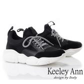 2019春夏_Keeley Ann輕運動潮流 復古拼接造型大底休閒鞋(黑色) -Ann系列