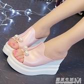 夏季新款厚底楔形涼鞋防滑厚底鬆糕鞋高跟串珠魚嘴鞋涼拖一字拖女拖鞋 遇见生活