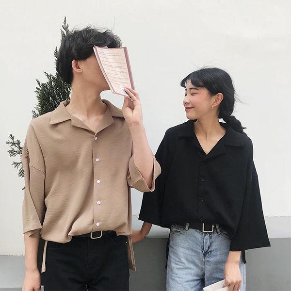 夏裝韓版純色西裝領情侶款襯衣女寬鬆百搭休閒七分袖襯衫學生上衣