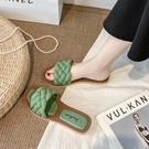 平底涼拖女 麻花編織拖鞋女外穿2021夏季新款百搭可濕水平底ins潮一字拖 歐歐