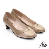 A.S.O 舒活寬楦 真皮拼接鑽飾低跟鞋 卡其