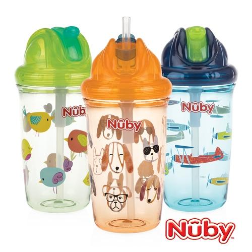 Nuby 晶透學飲杯 細吸管 300ml (款式任選)