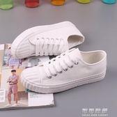 白色帆布鞋女百搭韓版原宿ulzzang布鞋平底小白鞋子 可可鞋櫃