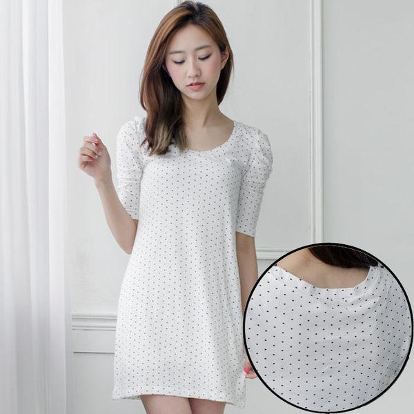 棉針織波點公主短袖長版上衣/短洋裝 [MNNO09065]