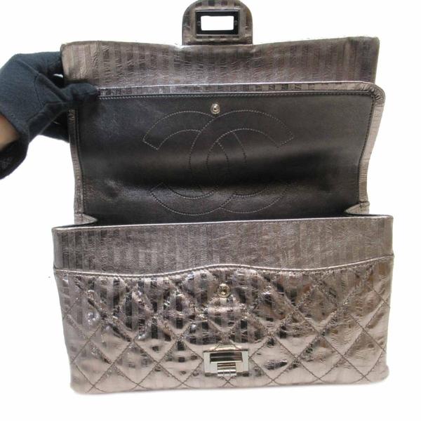 CHANEL 香奈兒 銀色條紋牛皮2.55銀釦雙蓋肩背包 Striped Flap Bag【BRAND OFF】