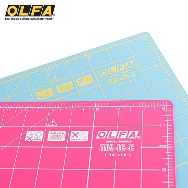 耀您館|日本OLFA雙面拼布墊RM-IC-C防滑裁切墊A3切割墊(厚0.15mm;2種尺規)割布墊美工作墊