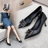 足意爾康高跟鞋女2021新款真皮百搭黑色職業網紅淺口尖頭細跟單鞋 范思蓮恩