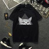 全館八折最後兩天-春夏bf港風潮牌街頭嘻哈滑板卡通貓男女款情侶裝棉質短袖t恤chic