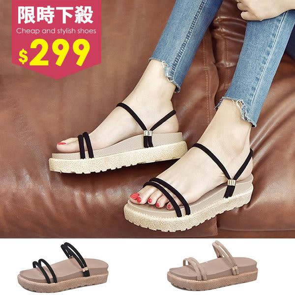 波希米亞涼鞋-新款厚底鬆糕顯白
