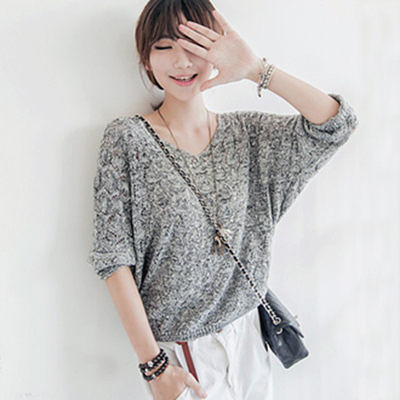 ☆ENTER☆短袖針織上衣 V領麻花鏤空針織長袖上衣【RA846】