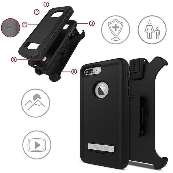 SEIDIO CONVERT 金剛級保護殼 iPhone 7 Plus 5.5吋 三層式保護殼 軟殼+硬殼 背夾 皮帶扣