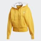 Adidas BIG BADGE OF SPORT 女裝 外套 連帽 短版 口袋 綿羊絨 棉質 黃【運動世界】GC6977