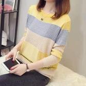 現貨出貨特價韓版寬鬆鏤空圓領針織衫短款薄款百搭女毛衣-F黃色
