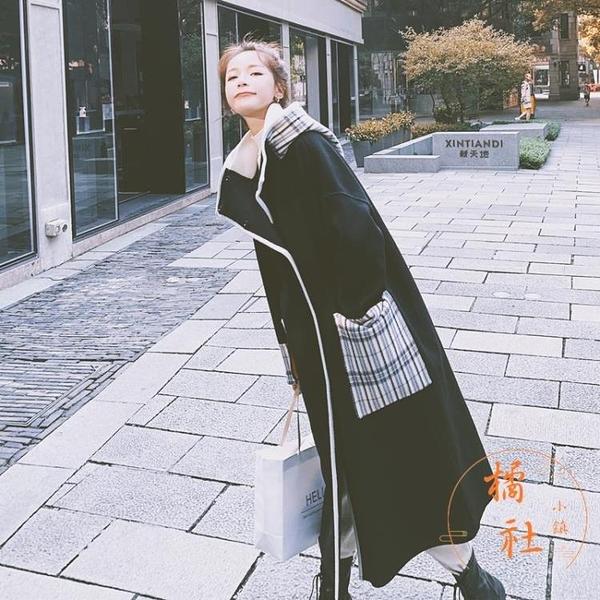 毛呢大衣女中長款秋冬韓版寬鬆加厚大衣外套【橘社小鎮】
