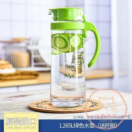 冷水壺 涼水壺玻璃涼水杯泡茶涼白開瓶大容量耐熱高溫防爆家用【萬聖夜來臨】