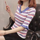 低價促銷不退換 低針織衫 毛衣 保暖價促銷不退換 2018韓版秋季新款條紋針織衫(S121)