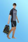 【M9321】梅林泳裝降價↘特賣~大男灰色搭黑邊印字短袖上衣