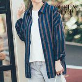Queen Shop【01023108】配色粗細條紋襯衫 兩色售*預購*