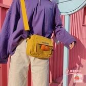 小方包 上新小方包百搭夏天古著感少女斜背包帆布可愛學生日系單肩包 3色