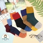 【正韓直送】韓國襪子 拼接三色中筒襪 素面雙色 拼色長襪 女襪 哈囉喬伊 A232