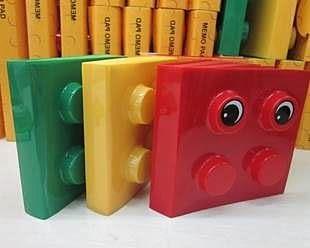 【發現。好貨】3色積木小號便條本 DEMO 留言本 隨身便條紙 附眼睛貼X4