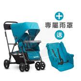 【贈第二座椅】Joovy Caboose Ultralight Graphite 新款輕量級雙人推車(藍)+專用雨罩