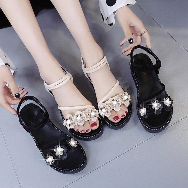 鬆糕鞋 仙女風涼鞋女時尚鬆糕鞋新款百搭超火網紅高跟女鞋夏季厚底潮  遇見寶貝