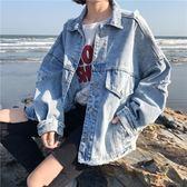 原宿風長袖寬鬆破洞牛仔外套女短款秋季2018新款韓版學生夾克上衣
