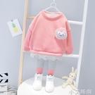 秋季新款童裝兒童加厚套裝女童寶寶韓版可愛加絨兩件套裝 小艾新品