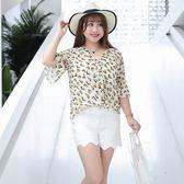 中大尺碼~袖口荷葉邊短袖雪紡衫(XL~4XL)
