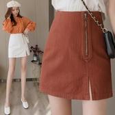 牛仔半身裙女夏季新款高腰氣質側拉鏈一步裙開叉A字包臀短裙 黛尼時尚精品