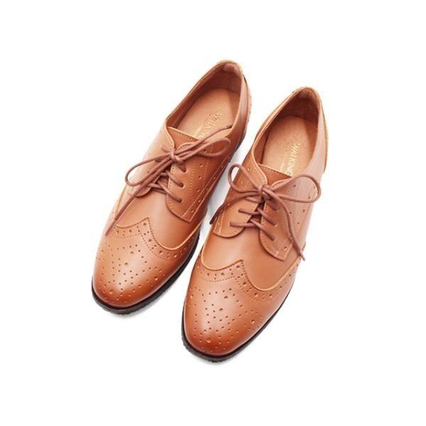 【南紡購物中心】WALKING ZONE (女)嚴選壓雕花牛津鞋 女鞋 -淺棕(另有黑)