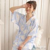 夏季短袖和服睡衣甜美少女清新純棉紗布薄款家居服套裝女 可可鞋櫃