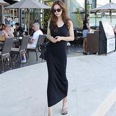 夏季連身裙莫代爾吊帶背心裙大碼女黑色純棉修身包臀打底長款長裙  良品鋪子
