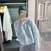 毛衣女秋冬外穿寬鬆外套日系針織開衫連帽短款厚【小酒窩服飾】